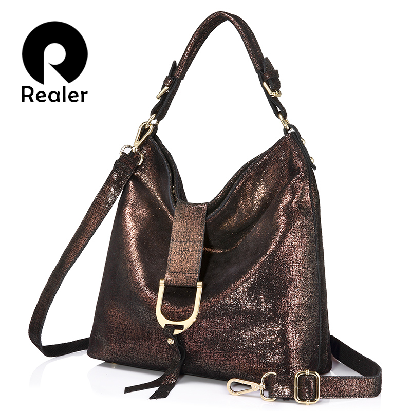 REALER brand women handbags genuine leather shoulder bags female large capacity ladies casual tote bag fashion Messenger bag new luxury famous brand women female ladies casual bags leather hello kitty handbags shoulder tote bag bolsas femininas couro