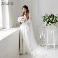 a4c9a72de Long Sleeve Wedding Dresses Chiffon Skirts Romantic Lace Bridal Gowns  Spring Summer Boho Vestido De Noivas