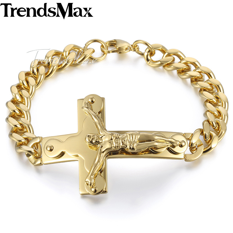 Trendsmax Men Bracelets Jesus Cross Charm Gold/Silver Color Stainless Steel Curb Cuban Link Mens Jewelry 10mm KKB547