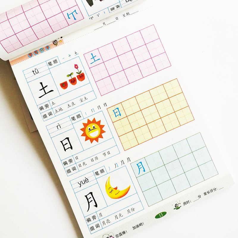 Writing Chinese Book 300 Basic Chinese Characters With Pictures Copybook For Preschool Children Calligraphy Book For Kid(China)