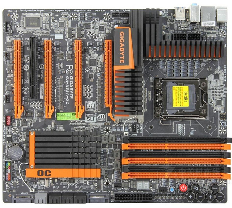 Gigabyte 1366-Pin L5639 Mainboards SATA3.0 GA-X58A-OC L5520 Desktop Support USB3.0 Original