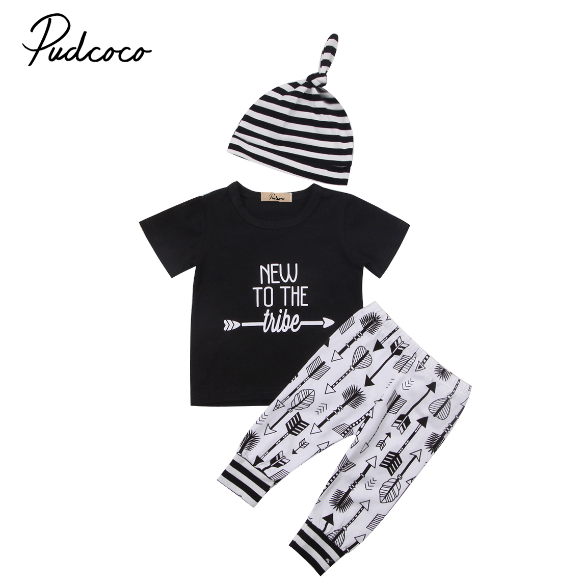 Baby Clothing Newborn Infant Baby Boy Girl Short sleeve Tops long Pants Hat 3Pcs Baby Cotton Outfit Clothes Set 0-18M