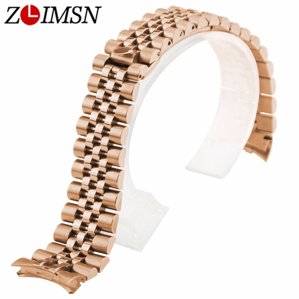 ZLIMSN 13 20mm 316L Solid Stainless Steel Deployment Clasp Watchband With Curved End Silver/ Black/ Gold/ Rose Gold Watch Strap tjp luxury brands stainless steel watch clasp 18mm 20mm silver rose gold polished deployment watchband buckle for patek
