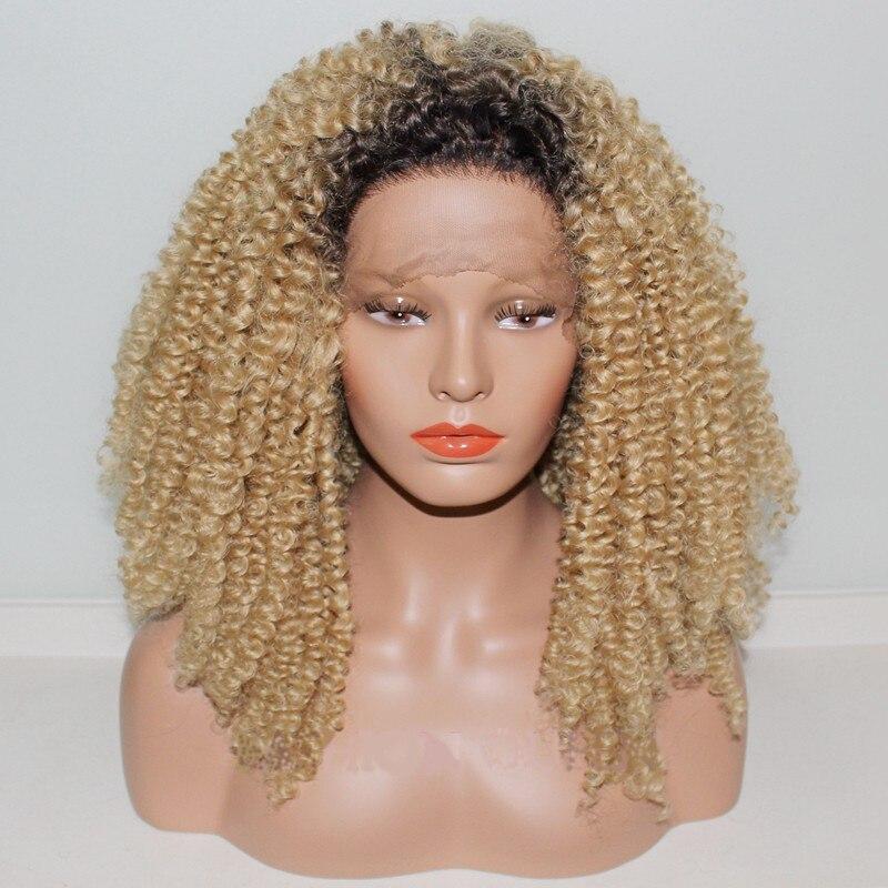 DLME Лидер продаж странный кудрявые парики, кружева светлые волосы ombre высокой плотности длинные волосы синтетические кружева фронтальной па... ...