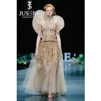 JUSERE 2019 Haute Couture Embroidery Floor Length Long Evening Dress Formal Party Gowns Unique Vestido de festa