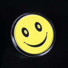 Smiley image card round smile face badge work pin employee number clip can change paper