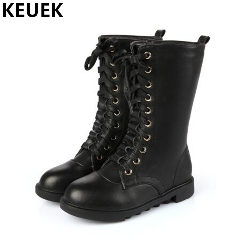 Genuine leather Fashion Motorcycle boots Autumn Winter Children Martin boots Boys Girls Mid-Calf Lace-Up Snow boots 041 british design mens casual mid calf martin punk motorcycle high boots rivets spring autumn genuine leather shoes lace up zapatos