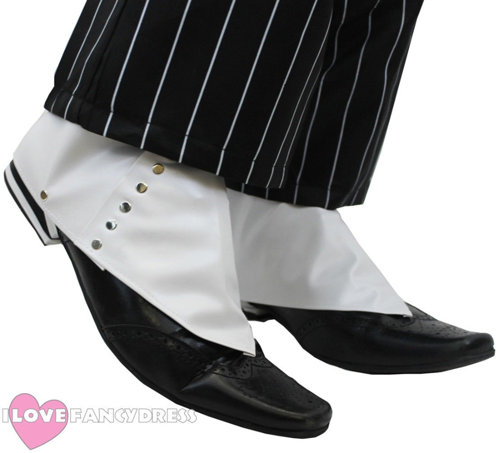 US $8.99 |GANGSTER SPATS WHITE 1920'S SHOE COVERS AL CAPONE FANCY DRESS COSTUME ACCESSORY on AliExpress