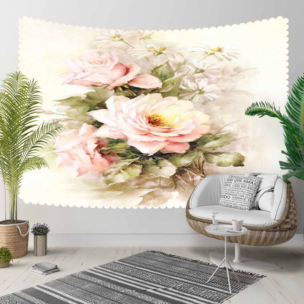 Else White Pink Vintage Roses Florals Green Leaf 3D Print Decorative Hippi Bohemian Wall Hanging Landscape Tapestry Wall Art