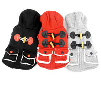 Pet Clothes For Small Toy Dog Puppy Cat British Hooded Horn Button Duffel Coat Fleece Jacket