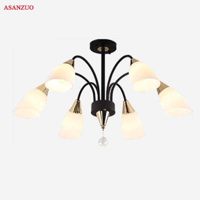 American living room Crystal chandelier modern restaurant bedroom light glass lampshade & Iron ceiling lamp Lighting fixture free shipping modern brief pendant light iron and crystal restaurant lamp fashion lighting light fixture for dining room bedroom