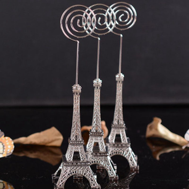Retro Eiffel Tower Model Metal Eiffel Tower Message Folder Craft Office Table Clip Card Message Paper Memo Home Decor Miniatures