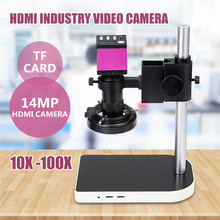 Discount! 14MP 60 LED 10X-100X Digital Camera Microscope Lift Stand Video Zoom Lens Intense Focused Shadow-free Illumination
