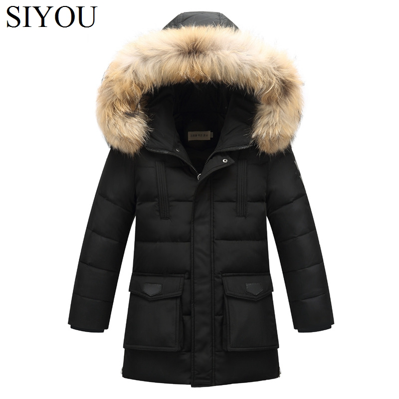 Long Teenage Boys Down Coats Russian Winter Thick Warm Children Coats Fur Hooded Boys Jackets Kids Outwear For Winter SYHBx5 WUA mens long winter camouflage jacket fur hooded down 2017 outwear thick military style parkas male big coats army green camo 3xl