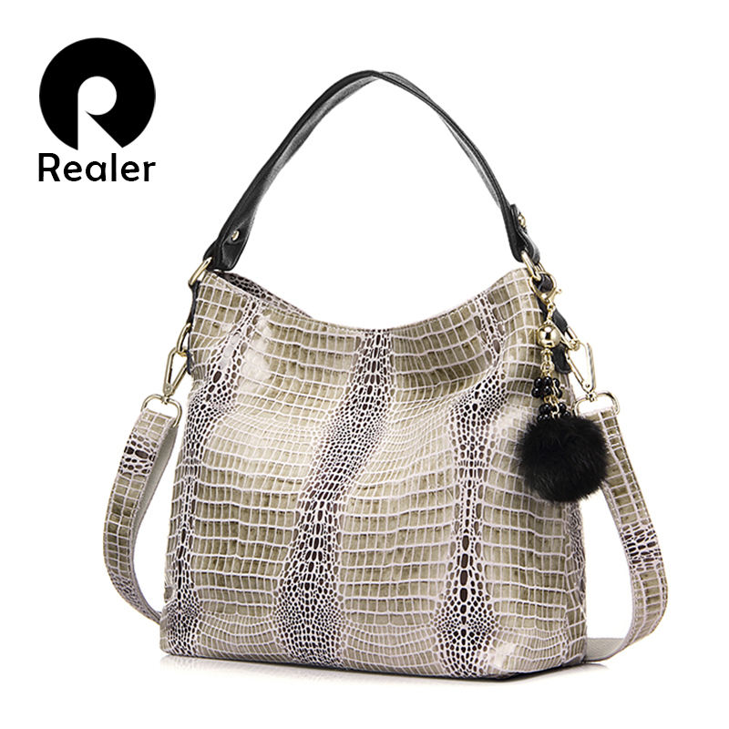 REALER Women Handbag Genuine Leather Totes Female Serpentine Pattern Ladies Shoulder crossbody Bags fashion Messenger bag small 100% genuine leather women bags luxury serpentine real leather women handbag new fashion messenger shoulder bag female totes 3