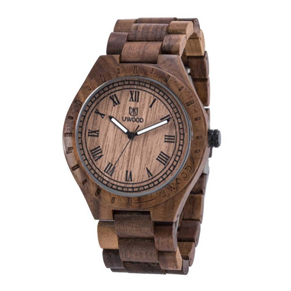 лучшая цена UWOOD Nature Wood Bamboo Watch Men Handmade Full Wooden Creative Men`s Wristwatches 2018 New Fashion Quartz Clock Christmas Gift