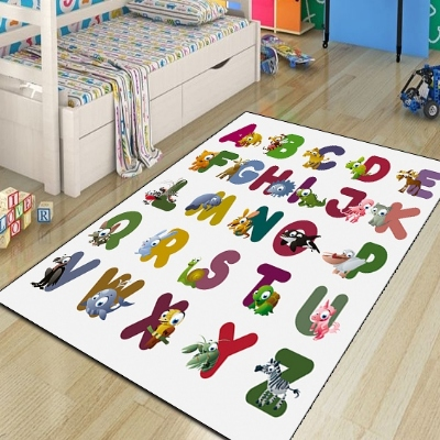 Else Educational Funny Animals And Alphabets 3d Print Non Slip Microfiber Children Kids Room Decorative Area Rug Kids  Mat