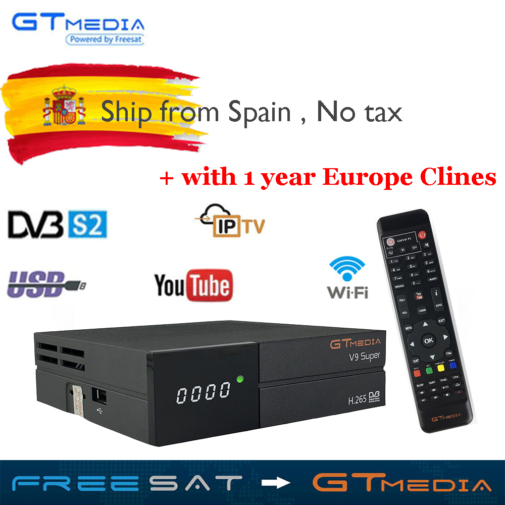 Satellite TV Receiver Gtmedia V9 Super Power by freesat DVB-S2 Built-in WIFI 1 year 5lines Europe CCcam as a gift Support TV Box kii pro android 5 1 1 tv box built in 2 4g