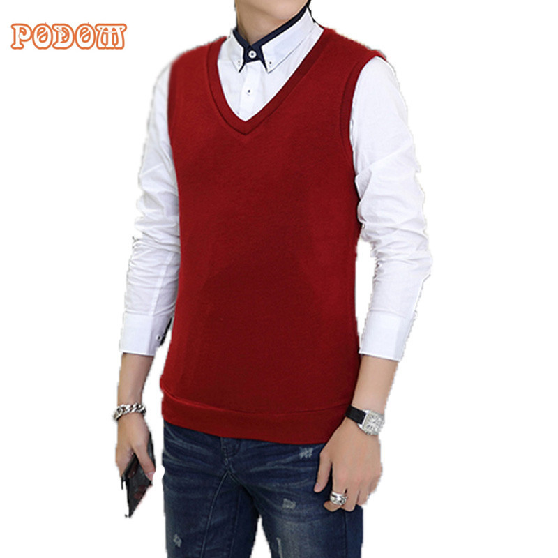 2017 Autumn Winter Solid Color Sweater Vest Men Fitted Warm ...
