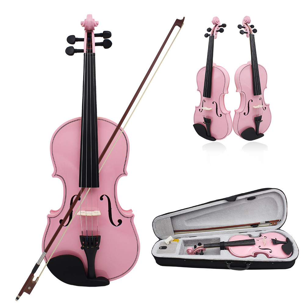 Solid wood violin 4/4 3/4 beginner handmade Bright pink violino Professional Instruments 1/2 1/4 1/8 violin case bow rosin Parts beginner s wood case 4 string violin w horse hair bow and rosin red black