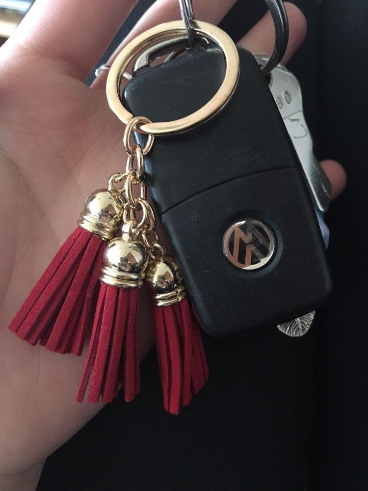 17 Colors Triple Leather Tassel Keychain Bag Pendant