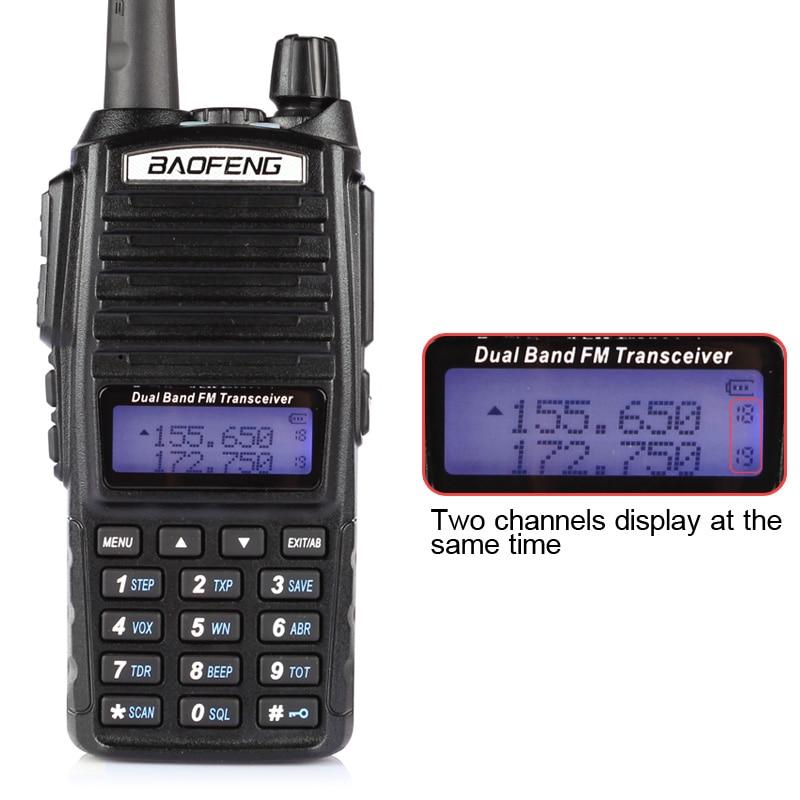 Baofeng UV-82L VHF / UHF 136-174 / 400-520 MHz երկկողմանի FM խոզապուխտ երկկողմանի Radio Walkie Talkie 3000mAh մարտկոց