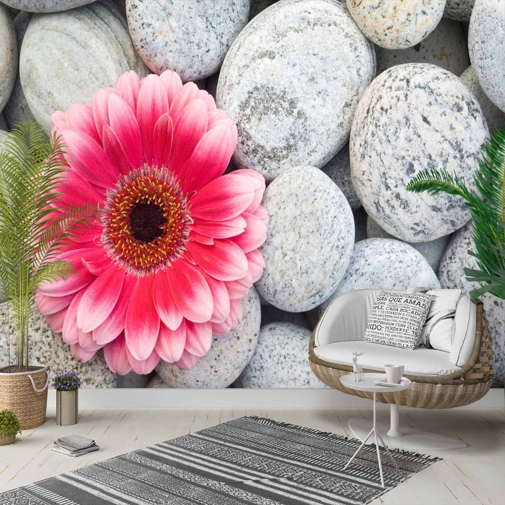 Else Gray White Pebble Stones Pink Flowers 3d Photo Cleanable Fabric Mural Home Decor Living Room Bedroom Background Wallpaper