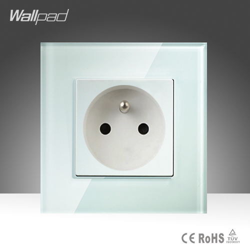 16A French Socket Wallpad White Crystal Glass EU French Standard Wall Socket Free Shipping 15a 16a south africa socket and double ubs socket wallpad 146 86mm white glass 2 usb ports and 16a sa switched socket with led
