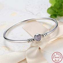 Gorąca sprzedaż 925 srebro fioletowe serce CZ cyrkon bransoletka kobiety Trendy romantyczna miłość S925 znaczek Charm bransoletka na prezent ślubny