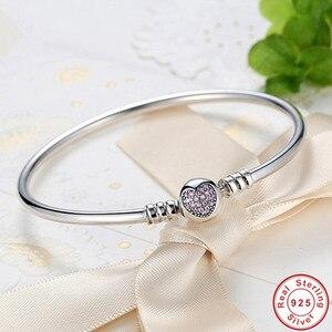 Image 1 - Hot Sale 925 Sterling Silver Purple Heart CZ Zircon Bangle Women Trendy Romantic Love S925 Stamp Charm Bracelet for Wedding Gift