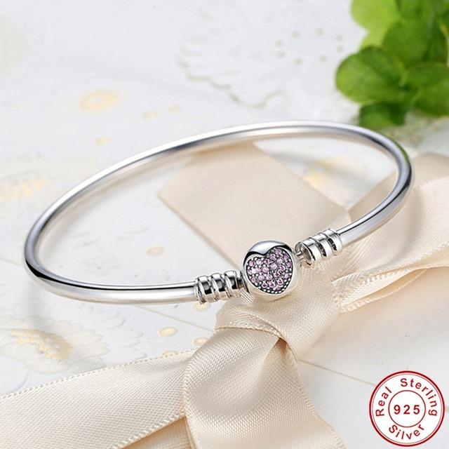 Hot Sale 925 Sterling Silver Purple Heart CZ Zircon Bangle Women Trendy Romantic Love S925 Stamp Charm Bracelet for Wedding Gift