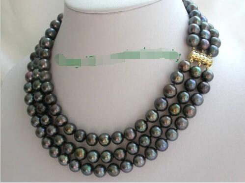 все цены на 3rows 10mm perfect round peacock black freshwater pearls necklace >>>girls choker necklace pendant Free shipping