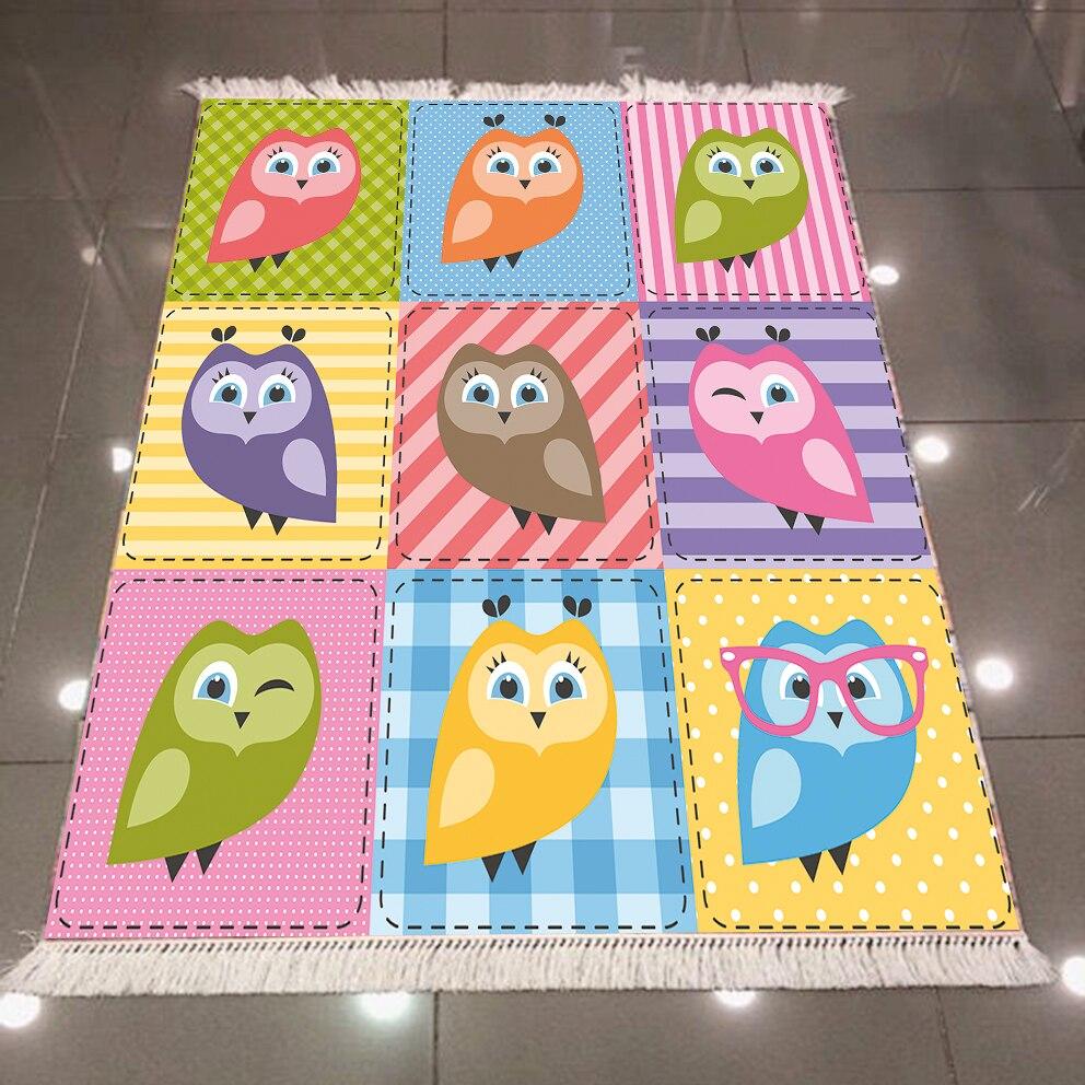 Else Green Blue Pink Orange Cute Owls 3d Print Microfiber Anti Slip Back Washable Decorative Kilim Kids Room Area Rug Carpet