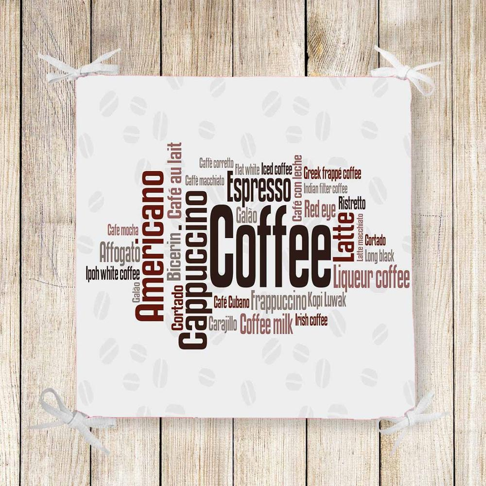 Else White Black Coffee Writen Kitchen Print Chair Pad Seat Cushion Soft Memory Foam Full Lenght Ties Non Slip Washable Zipper