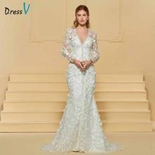 Dressv elegant trumpet v neck lace wedding dress long sleeves beading floor length bridal outdoor&church wedding dresses