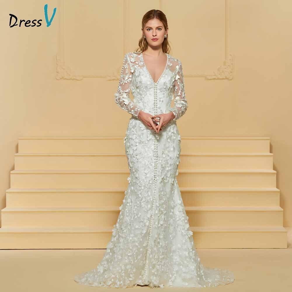 Dressv elegante tromba scollo a v in pizzo abito da sposa maniche lunghe che borda lunghezza del pavimento da sposa outdoor & chiesa abiti da sposa