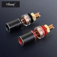 Viborg 4pcs 45MM Amplifier Speaker Binding Post Terminal Carbon Fiber Red Copper Gold/Rhodium Plating Banana Plug Socket