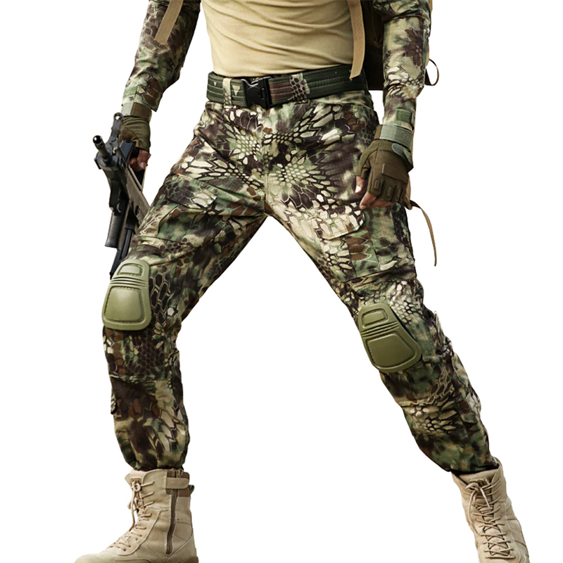 Camouflage Tactical Pants With Knee pads Classic Army Military Style Long Pant CS Camo Paintball Hunting