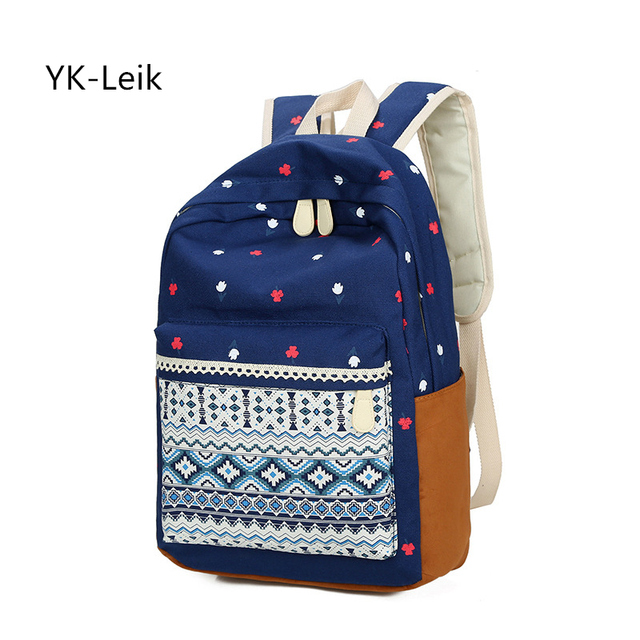 a295da3055 Vintage School Bags for Teenagers Girls Schoolbag Large Capacity Lady  Canvas Dot Printing Backpacks Rucksack Backpack BookBag