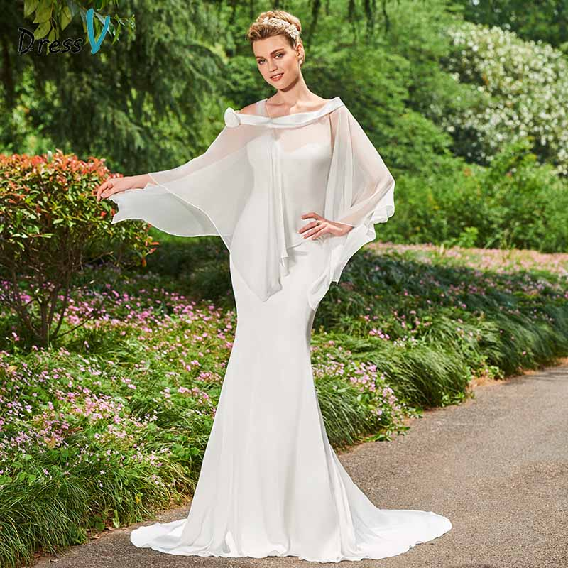Dressv ivory mermaid wedding dress off the shoulder long sleeves trumpet floor length bridal outdoor&church wedding dresses
