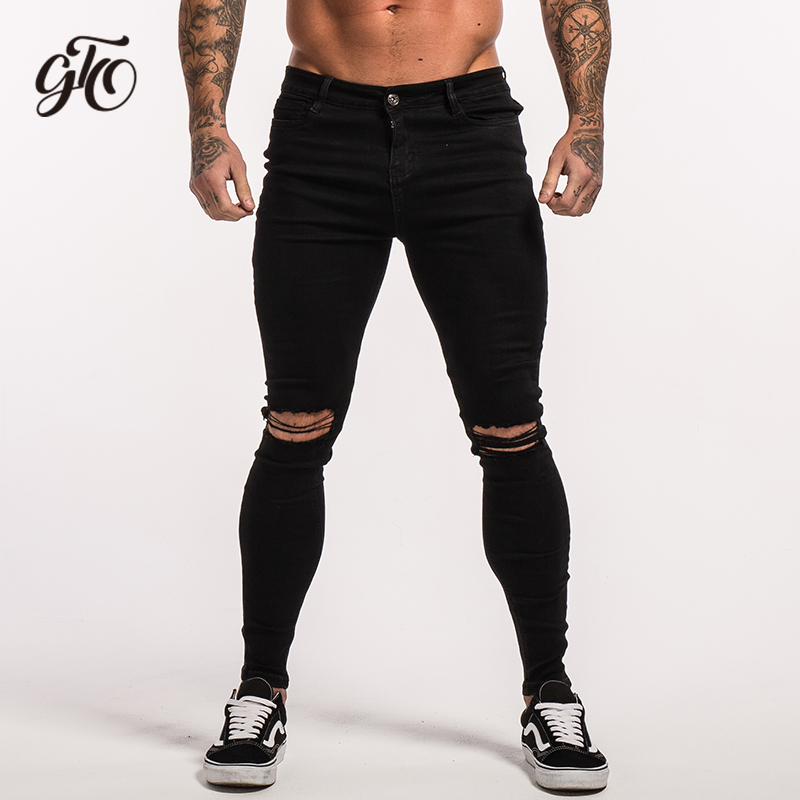 GINGTTO Heren Skinny Jeans Ripped Slim Fit Skinny Jeans voor Mannen Stretch Denim Broek Zwart Designer 32 Taille 30 Lengte zm03-in Spijkerbroek van Mannenkleding op AliExpress - 11.11_Dubbel 11Vrijgezellendag 1