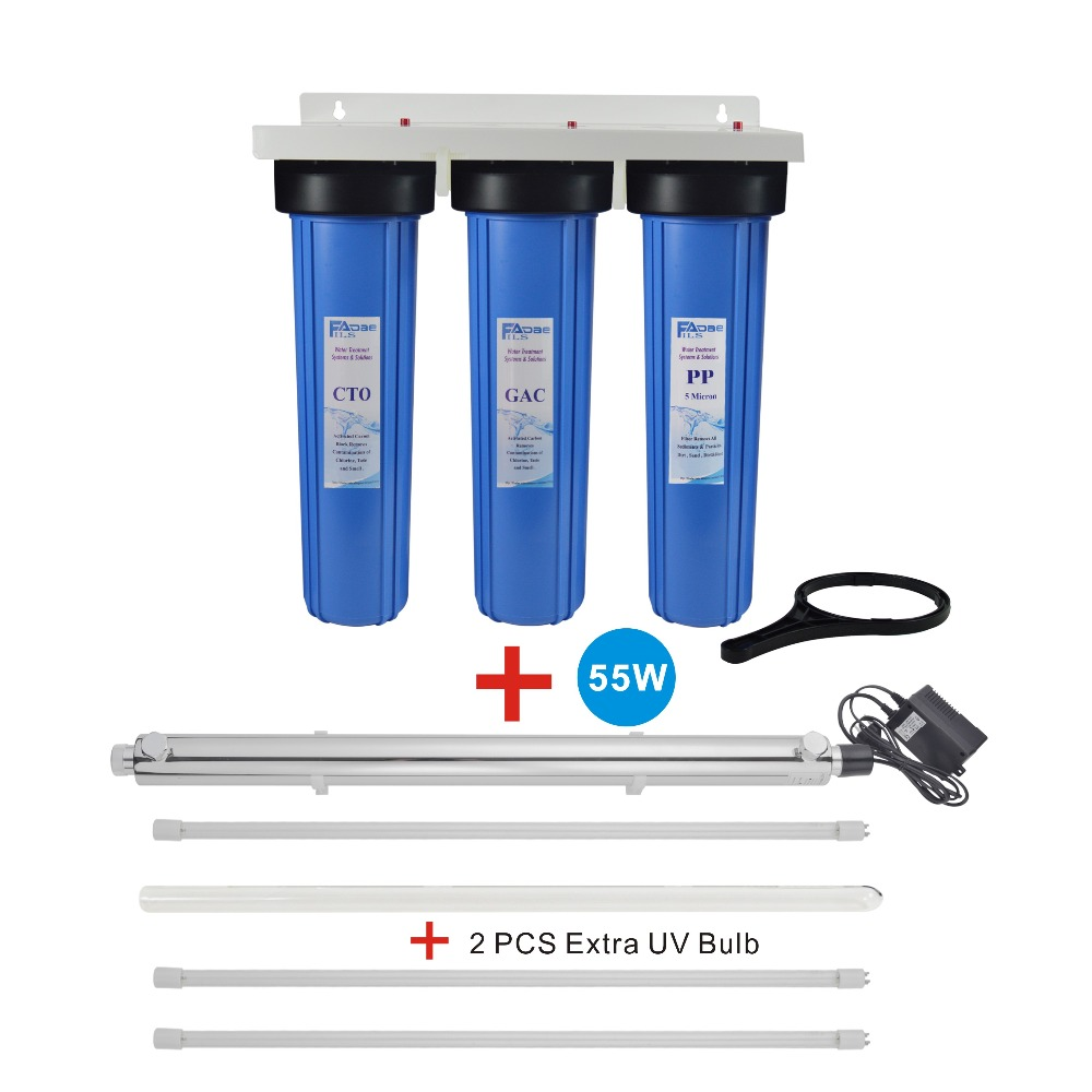 3 Stage Whole House System with 55W UV Ultraviolet Sterilizer 12 GPM and 2 extra UV