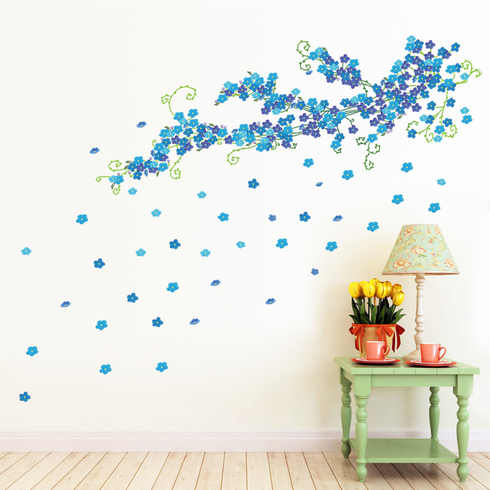 Removable wall art graphic - Large Blue Plum Blossom Wall Art Mural Decor Living Room Bedroom Home Decor Wall Decal Sticker