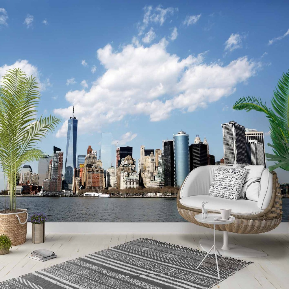 Else Blue Sky White Clouds City Sea Side 3d Photo Cleanable Fabric Mural Home Decor Living Room Bedroom Background Wallpaper