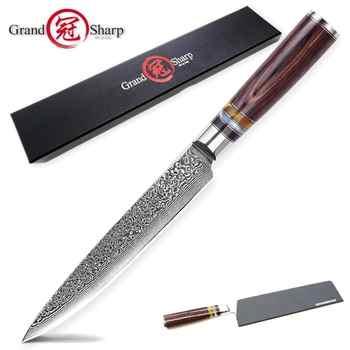 Damascus Kitchen Knives Slicing Carving Chef Knife Japanese vg10 Damascus Steel Salmon Ham Knife Sashimi Sushi Cake Tools Slicer - DISCOUNT ITEM  0% OFF All Category