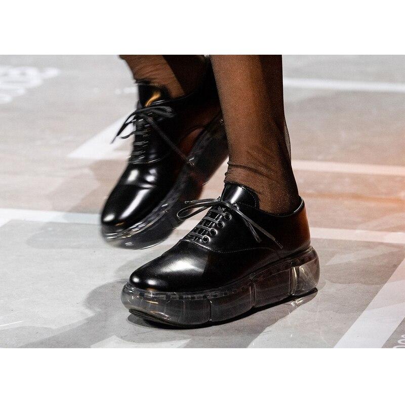 2019 nouveau coussin d'air transparent fond épais sangles plate-forme chaussures en cuir verni grande tête décontracté mode personnalité vieilles chaussures