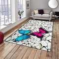 Autre gris pierres blanches sur rose bleu papillon impression 3d antidérapant microfibre salon décoratif moderne lavable zone tapis