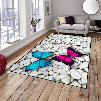 Else Gray White Stones On Pink Blue Butterfly 3d Print Non Slip Microfiber Living Room Decorative Modern Washable Area Rug Mat