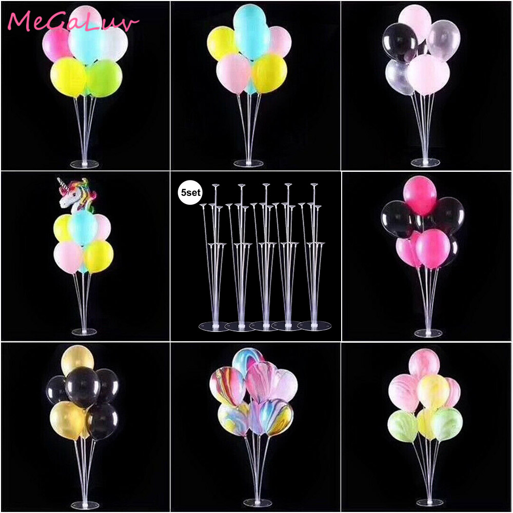 5/3/2 Set <font><b>Balloons</b></font> Column <font><b>Stand</b></font> Plastic <font><b>Balloon</b></font> Support With <font><b>7</b></font> <font><b>Tubes</b></font> Tabletop <font><b>Balloon</b></font> <font><b>Holder</b></font> Birthday Party Wedding Decoration image