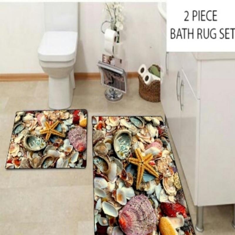 Else Yellow Green Red Tropical Sea Shells Star 2 Pcs 3d Pattern Print Bath Mats Anti Slip Soft Washable Bathroom Mat Toilet Rugs